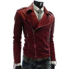 men s asymmetrical zipper style faux slim fit red leather jacket