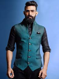 Mens Koti Design Rama Green Terry Rayon Waistcoat Mens Kurta Designs Mens