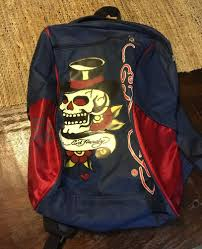 Don Ed Hardy Designs Bag Don Ed Hardy Designs Backpack School Bag Red And Blue Skull