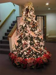 Others Marvelous Christmas Tree Decorating And Trimming Idea With White  Burlap Ribbons Led Lights Flower