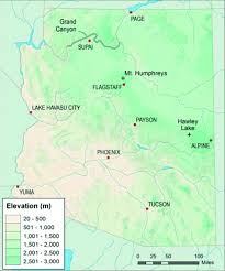 Tucson Elevation Chart Arizona Elevation Map With Cities And Other Significant