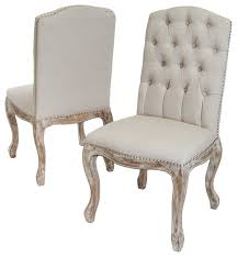 cream tufted dining chairs memorable jolie linen set of 2 beige farmhouse throughout home interior 23