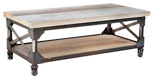 ... Coffee Table, Amazing Light Brown Rectangle Industrial Wood Coffee Table  On Casters Idea To Improve ...