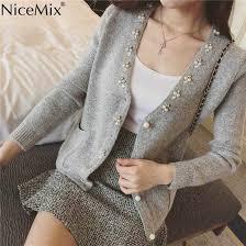 <b>NiceMix</b> Cardigan Women Knitted Sweater Hand Beading Sequined ...