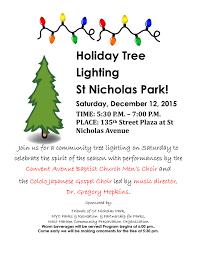 Nyc Tree Lighting 2015 Holiday Tree Lighting Archives Friends Of St Nicholas Park