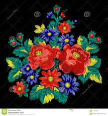 Floral Embroidery Designs Vector Floral Embroidery Fashion Ethnic Vector Bouquet Stock Vector