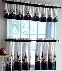 Red Swag Kitchen Curtains Vineyard Merlot Chablis Chateau Wine Kitchen Curtains Tiers