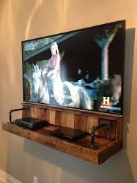 Floating Shelves To Hold Cable Box Simple I Love This Wood Pipe Shelf For Electronics Under A Wall Mounted