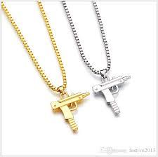 whole new uzi gold chain hip hop long pendant necklace men women fashion brand shape pistol pendant maxi necklace hiphop jewelry pendants and