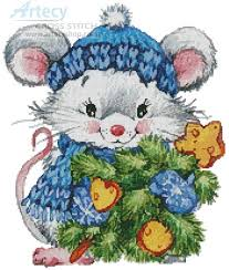 Artecy Cross Stitch. Christmas Mouse Cross Stitch Pattern to print ...