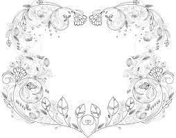 花のイラストフリー素材フレーム枠no43細い線画1