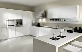 White Floor Kitchen Fascinating White Kitchen Design With White Cabinet And Brown