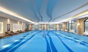 Indoor swimming pool design rendered walls and windows