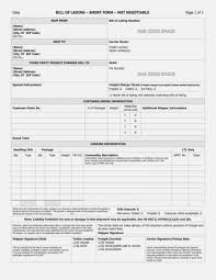 Short Form Bill Of Lading Template Straight Bill Of Lading Shortm Template And Short Form Free