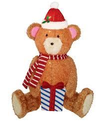 Light Up Pop Up Santa Holiday Time Light Up Pop Up Fluffy Bear Wearing Scarf Santa Hat Holding Gift