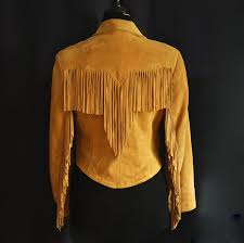 pioneer wear 1970 s fringed natural tan suede leather jacket alburquerque nm