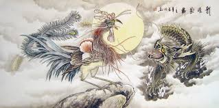 chinese dragon paintings dragon and phoenix bringing auiousness