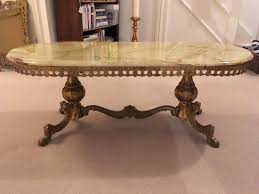 vintage 1960s retro onyx marble french style coffee table with brass cast legs