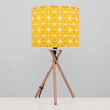 Camden Copper Tripod Table Lamp Yellow Shade Iconic Lights
