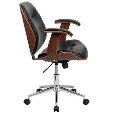 leather office chair. Amazon.com: Flash Furniture Mid-Back Black Leather Executive Wood Swivel Chair With Arms: Kitchen \u0026 Dining Office