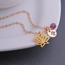 gold lotus necklace custom yoga jewelry gift gold lotus flower necklace with om charm lotus flower necklace motivational jewelry