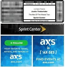 Justin Timberlake Concert 2 Tickets Section 110 Sprint