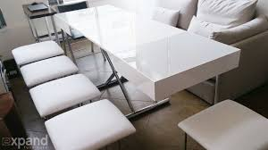 compact white glass box coffee table demonstration