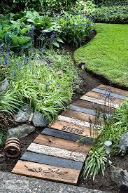 garden themed reclaimed wood walkway