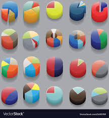 Pie Chart Without Numbers Set Of 3d Pie Charts Business Items Without
