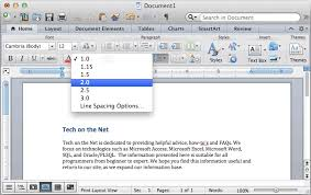 ms word for mac double space text