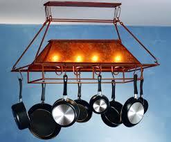 vintage ceiling pot rack with light