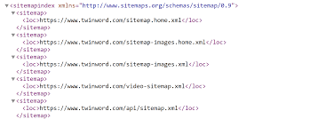 exle of sitemap xml file using twinword
