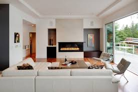 Oversized Furniture Living Room Contemporary Living Room With A Rectangular Gas Fireplace And