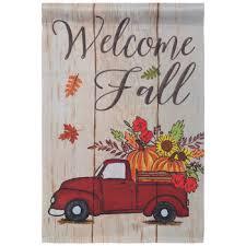 welcome fall truck garden flag hobby