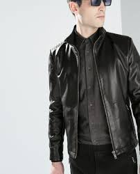 zara faux leather jacket with a quilted back in black for men lyst