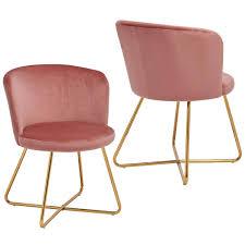 Duhome 2er Set Esszimmerstuhl Aus Stoff Samt Rosa Pink Polsterstuhl Retro Design Stuhl Mit Rückenlehne Besucherstuhl Metallbeine Farbauswahl 8076x