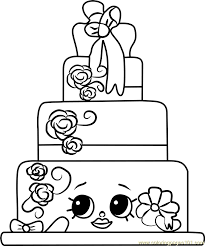 Cake Coloring Pages Wendy Wedding Shopkins Page Free