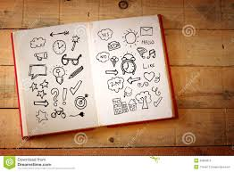 open book with doodles over wooden table stock ilration ilration of desk mystery