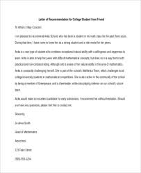 sample letter of recommendation for college application free 5 sample recommendation letter for a friend in pdf doc
