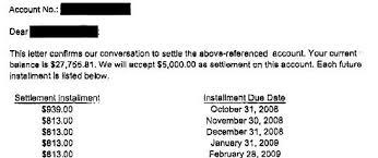 bank of america debt settlement letter
