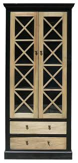 chinese black raw wood with glass door cabinet