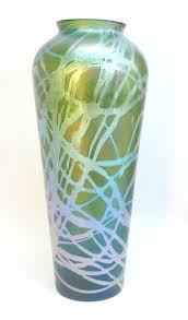 huge glass vase antique iridescent art c bohemian round pampas huge glass vase