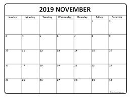 November 2019 Calendar Free Printable Monthly Calendars