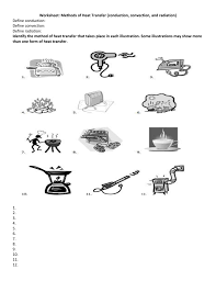 conduction convection radiation worksheet. conduction convection radiation worksheet w
