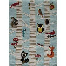 lil mo whimsy forest critters light blue 2 ft x 3 ft indoor kids