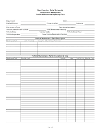 Maintenance Sheet Template Worksheet Vehicle Printable