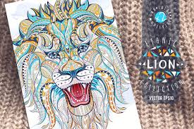<b>Ethnic</b> Collection: <b>Lion</b> | Pre-Designed Illustrator Graphics ~ Creative ...