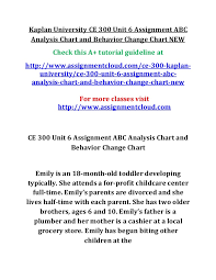 Behavior Change Chart Kaplan University Ce 300 Unit 6 Assignment Abc Analysis
