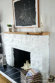 smlf painting stone fireplace white rock ideas fireplaces before and after refresh with live edge mantle