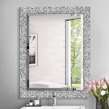 Amazon Com Mirror Trend 24 X 32 Inches Silver Beveled Mirrors For Wall Mirrors For Living Room Large Bathroom Mirrors Wall Mounted Mosaic Design Mirror For Wall Decorative Silver Furniture Decor